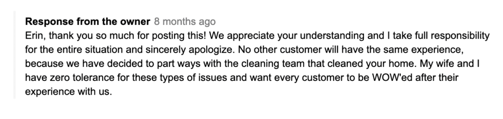 Response from cleaning service owners